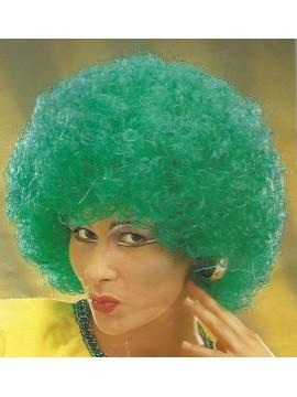 Perruque disco bouclée, cheveux verts