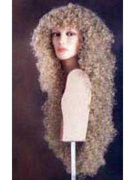 Perruque frisée, cheveux blonds