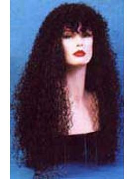 Perruque bouclée, cheveux noirs